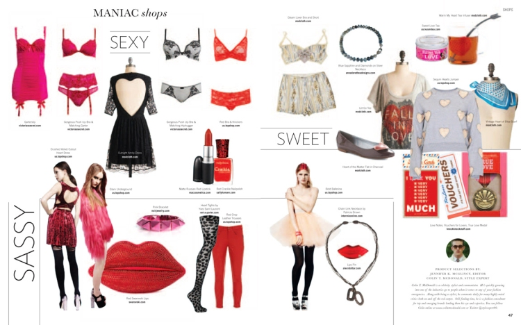 valentine's day style, maniac magazine february 2012